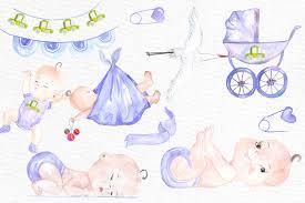 watercolor boy baby shower clipart by v design bundles