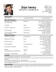 Theatrical Resume Sample by Audition Resume Best Template Collection