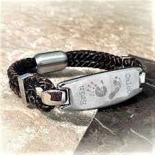 hand bracelet men images Engraved brown leather bracelet for men with hand foot or jpg