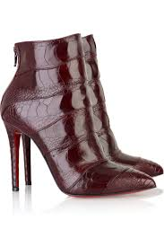 christian louboutin dark red leather ankle boots with a stiletto