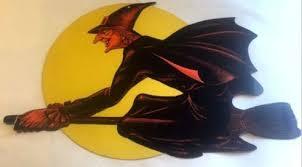 Flying Witch Decoration Vtg Lg Halloween Die Cut Paper Decoration Flying Witch Moon