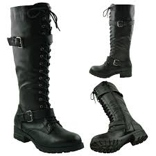 womens boots the knee s knee high miliary boots faux leather lace up combat