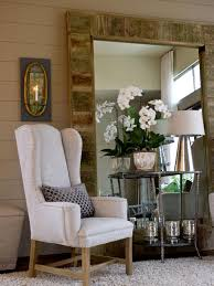 furniture rustic wood oversized mirrors with cozy chair and side