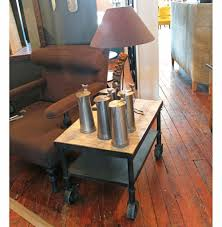 belker industrial loft reclaimed wood iron casters cart side table