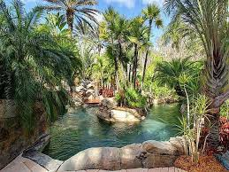 tropical landscape and yard with pond u0026 exterior stone floors in