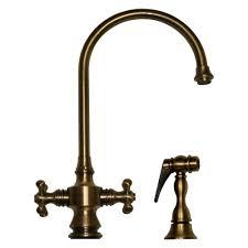 Antique Brass Kitchen Faucets Whitehaus Whksdcr3 8101 Goose Neck Cross Handle Kitchen Faucet