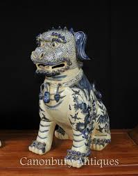 white foo dogs pair nanking blue and white porcelain foo dogs guardian lions