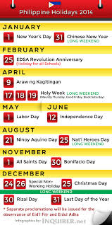 philippine holidays for 2014 inquirer news