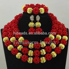 Costume Jewelry Unique Beaded Design 2016 Wholesale Nigerian Red Coral Beads Jewelry Set Wedding