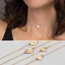 14k gold personalized necklace dainty choker heart necklace personalized necklace or blank