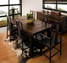animal inspired rug and bamboo floor for asian dining room ideas