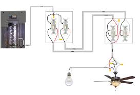 light switch with fan control one set of 3 way switches to control fan motor and one set to
