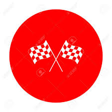 Flag With Red Circle Crossed Checkered Flags Waving In The Wind Conceptual Of Motor
