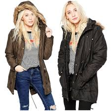 womens parka jacket coat parker brave soul metallic thread parka