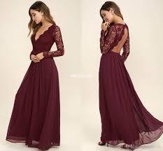 2017 burgundy chiffon bridesmaid dresses long sleeves western