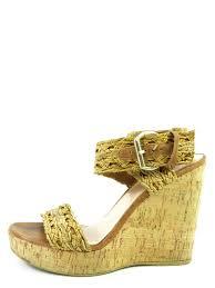 stuart weitzman women brown leather braided strap cork platform