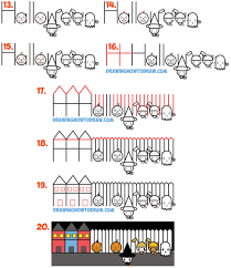 how to draw halloween trick or treating scene from the word word