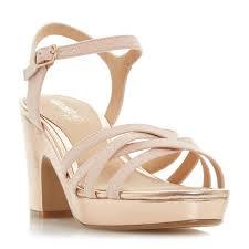 jaclyn strappy platform cork wedge sandal rose gold dune london