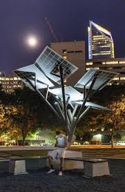 solar powered street tree sprouts uptown charlotte observer
