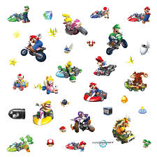 roommates 771scs nintendo mario kart peel and stick wall decals roommates 771scs nintendo mario kart peel and stick wall decals 34 count wall decor stickers amazon com
