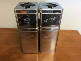 vintage metal canette kitchen canister set of 4 flour sugar coffee