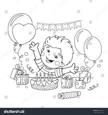 coloring page outline cartoon boy gifts stock vector 551435674