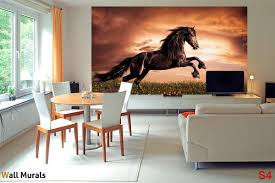 Wall Murals For Living Room Mural With A Elegant Dark Horse On A Field