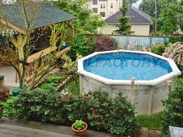 outdoor landscaping around above ground pool above ground pools