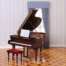 concert grand piano with upholstered bench 40040