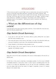 applications of clapping switch