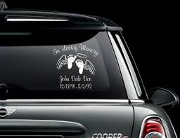 infant in loving memory car window decal with wings