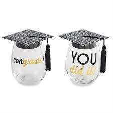 graduation wine glasses graduation wine glass hat set time your gift