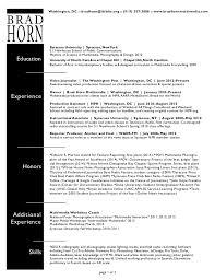 film production brad horn resume astounding videographer resume