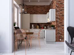 featuring a unique decor in the kitchen with exposed brick wall