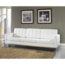 Leather Modern Sofa by Long White Leather Sofa With Three Seat And Silver Steel Legs On