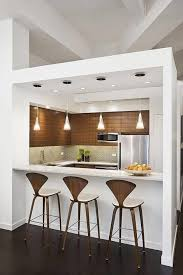 narrow kitchen design with island distinguished light brown tile in color shades walls for