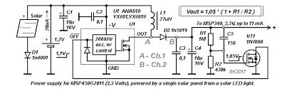 power supply 3 3v u003c11ma for msp430 based on solar powered led