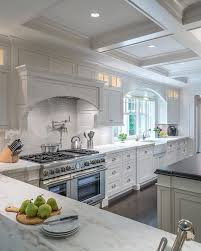 kitchen ceiling designs from the rich hardwood floors to the spectacular coffered ceiling