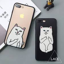 Middle Finger Cat Meme - funny cartoon cat middle finger case for iphone 7 7 plus 6 6s 5 5s