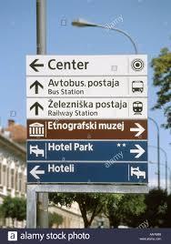 ljubljana slovenia road sign showing centre bus and train