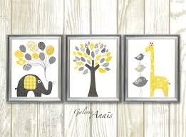Yellow And Gray Wall Decor by Giraffe Nursery Art Print Elephant Nursery Wall Decor Baby