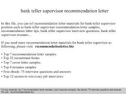Sample Resume For Teller Position by Bank Teller Supervisor Recommendation Letter