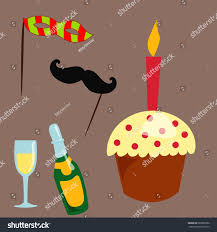 birthday cocktail party icons celebration happy birthday surprise stock vector