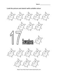 numbers colouring worksheet seventeen kidschoolz