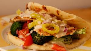rachael ray roasted broccoli or roasted broccoli and sliced chicken pitas with tahini sauce recipe