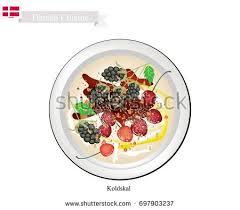 cuisine cherry cuisine koldskal traditional cold buttermilk เวกเตอร สต อก