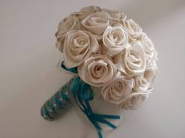 satin roses fabric wedding bouquets from etsy
