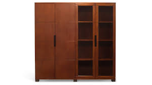 hayes modern executive wall unit with glass doors and shelving