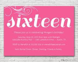 simple and sweet sixteen birthday invitation printable or