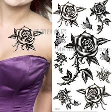 temporary flower tattoos black flowers and butterflies with a